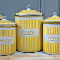 Vintage french enamel kitchen canister set in yellow stripes Signed and numbered BB Freres Austria. French country. Shabby chic