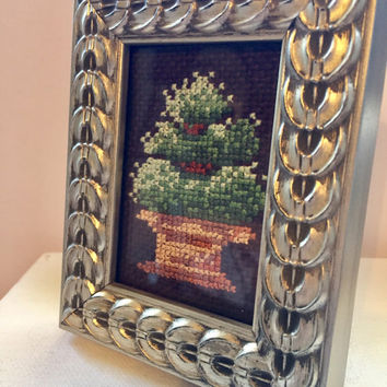 Completed cross-stitch, framed art, Desk art, Green Topiary tree art, Hand stitched fiber, OOAK, silver tone frame, Mothers Day gift