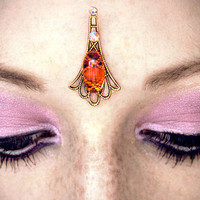 Fire Opal Bindi, forehead jewelry, glass fire opal. antique gold, gypsy costume, festival piece, tribal fusion bellydance, wicca, goddess