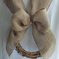 Burlap pew wreath rustic wedding or vineyard wedding decor