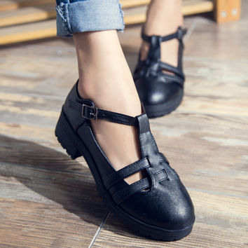 spring 2017 rome vintage cut-outs t-strap oxford shoes for women buckle strap thick medium heel shoes woman leather women flats