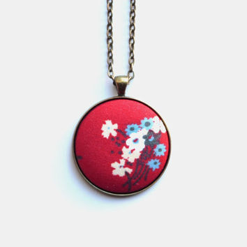 VALENTINES DAY SALE Red Floral Necklace, Fabric Button Pendant, Spring Fashion, Pretty Flowers, Eco Jewelry, Boho Chic Necklace