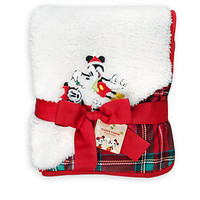 Disney Store Mickey and Minnie Mouse Fleece Throw Holiday New with Tags