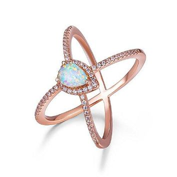 AUGUAU OPALBEST Criss Cross Rose Gold Plated Ring with White Pear Shaped Opal for Women and Girls