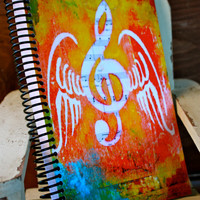 """Music Takes Flight 5.5""""x8"""" Lined Paper Notebook, Journal, Wholesale Stationary, Coil Bound Notebooks"""
