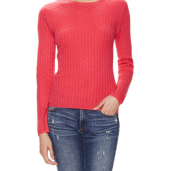 In Cashmere Women's Cashmere Cable Knit Sweater - Pink -