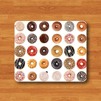 Donut Sweet Chocolate Dessert  Recipes Mouse Pad Happy Honey Doughnut MousePad Desk Deco Work Pad Mat Rectangle Personal Gift Computer Pad