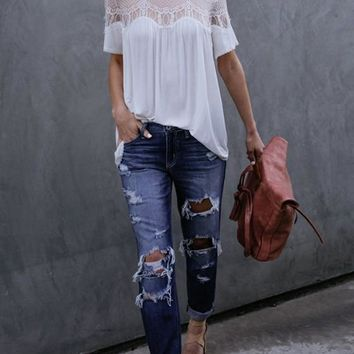 White Lace Draped Round Neck Sweet Cute Casual Blouse