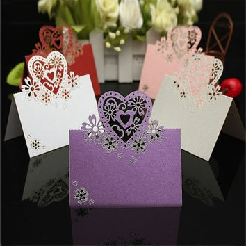 50pcs Heart Cut Table Laser Place Cards Name Number Wedding Party Decoration [7982972039]