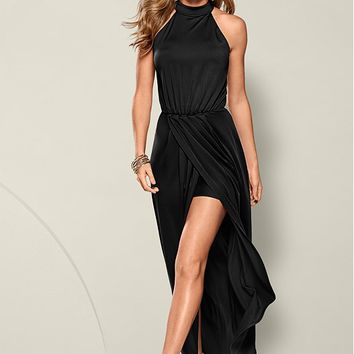 Long Drape Dress in Black | VENUS