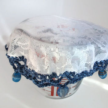 Beaded Jug/Bowl Cover. Blues. Summer Outdoor Dining, Food or Drink Cover. Alfresco, Garden Party, Picnics. BBQ, Home Accessories.
