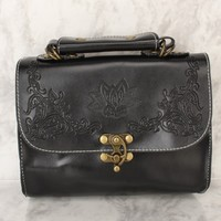 Sexy Black Embroidered Faux Leather Handbag