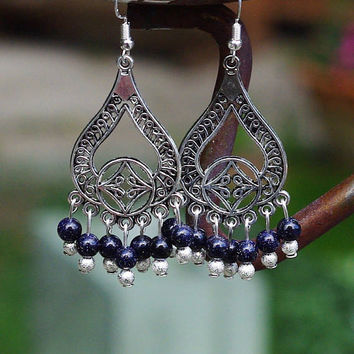 Blue Sandstone Chandelier Earrings ~ Sparkle Stones ~ Boho Style ~ Bohemian Jewellery ~ Midnight Sky ~ Starlight ~ Tibetan Silver