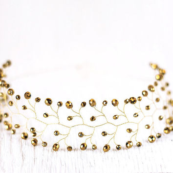 Gold headband, Festive hair accessories, Gold hair accessories, Sparkling accessory, Twigs Сrystals crown, Gold hair accessory, Gold tiara.
