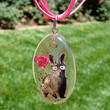 Resin Nerd Bunny Rose Pink Ribbon Necklace by KatieDidsx3 on Etsy