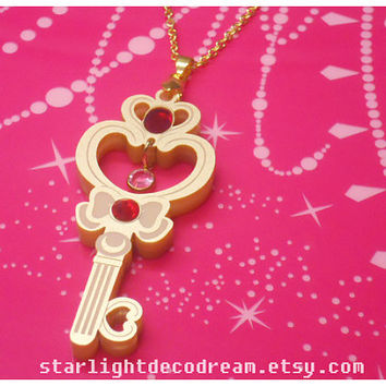 PRE ORDER Sailor Moon Chibiusa Crystal Time Key Inspired Gold Acrylic Necklace for Mahou Kei, Magical Girl Fashion