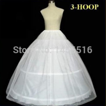 In Stock 2017 Hot Sale 3 Hoop Ball Gown Bone Full Crinoline Petticoats For Wedding Dress Wedding Skirt Accessories Slip