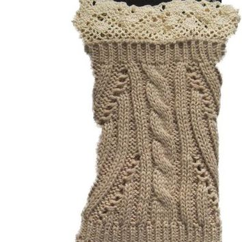 Bijorca Womens Knit & Lace Leg Warmers Leggings Boot Toppers