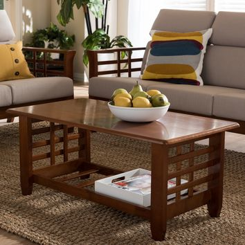 Baxton Studio Larissa Modern Classic Mission Style Cherry Finished Brown Wood Living Room Occasional Coffee Table Set of 1