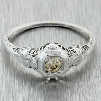 1930s Antique Art Deco 14k White Gold Filigree Champagne Diamond Engagement Ring