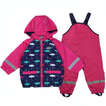 Trendy Windproof Girls Clothing Baby Boys Girl Waterproof Jacket Suit+Overalls Child Reflective Warm Fleece Jacket Girls Coat Outerwear AT_94_13