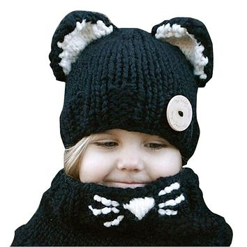 Winter Warm Baby Hats Scarf Set Windproof Kids Boys Girls Cat Ear Beanies Caps Cute Children Kids Knitted Hats