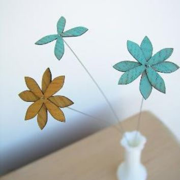 rustic wood flowers set of three by uncommon on Etsy
