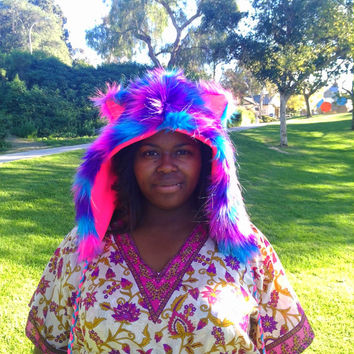 Sparkle Glitter Neon Pink Blue Purple Fluffy Furry Rave Animal Hood UV Reactive