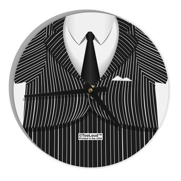 """Pinstripe Gangster Jacket Printed Costume 8"""" Round Wall Clock  All Over Print"""