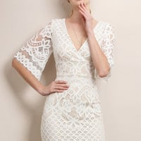 Short V-Neck Flare Sleeve Lace Dress