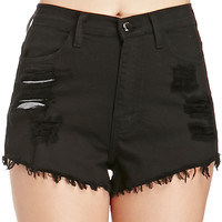 DailyLook: Distressed Cut Off Shorts in Black S - L