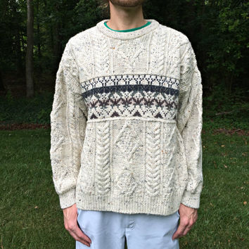 Made in Ireland - 100% Wool - Vintage Irish Sweater by AranCrafts - Thick Knit, Aran Cables - Off-White Heather w/ Fair Isle - Men's Size L