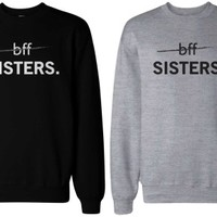BFF Sisters Black and Grey Matching Sweatshirts