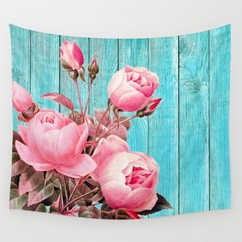 Pink Roses On Turquoise Blue Wood Wall Tapestry by inspiredimages