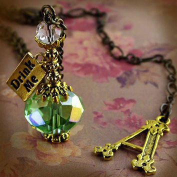 Alice In Wonderland Drink Me Bottle Vial Necklace antique gold antique brass bronze