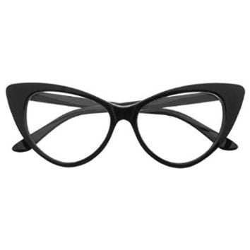 BIRCH's Chic Retro Vintage Mod Style Cat Eye Clear Lens High Pointed Glasses