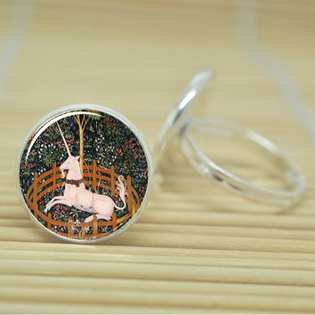 Inexpensive Sitting Unicorn Ring Design in Glass Cabochon in Silver or Antique Bronze Adjustable
