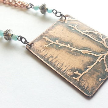 Jewelry - Necklace - Chinoiserie - Two Tone - Etched Bird- Tree Necklace - Bird Pendant - Copper Plated - Silver Plated - Turquoise Ribbon