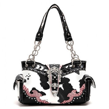 Animal Print: Cow Print W/Rhinestone Buckle