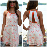Sunkissed Blooms Coral Lace Skater Dress