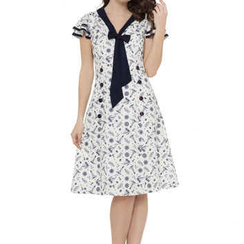 Voodoo Vixen At Sea Nautical Print Dress