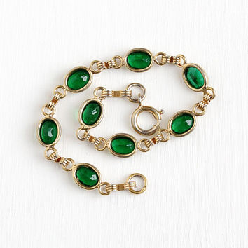 Simulated Emerald Bracelet - Vintage 12k Yellow Gold Filled Green Glass Stone Bracelet - Retro 1960s Oval Linked Panel Open Back Jewelry