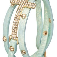 Mint Wrap Cross Bracelet