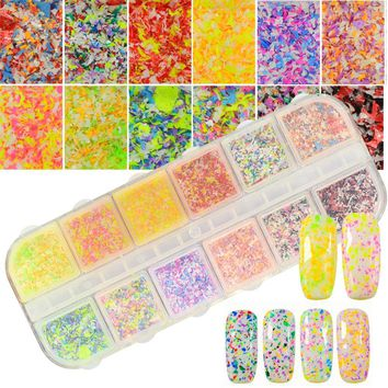 12 Color Nail Glitter Acrylic Powder Dust 3D New Designs Snow Flower Tips Flakes Set Nail Sequin Irregular DIY Effect CHXH