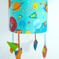 Rocket nursery lampshade - Outer space theme - Blue theme room - Original gift for baby shower, first birthday, new mums