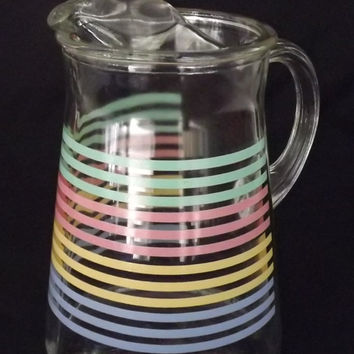 Retro Pitcher Ice Lip Pastel Stripes Vintage