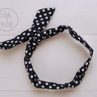 Dark BLUE Wire Headband Dotted Bow Headband Toddler Headband Adult Rockabilly Headband