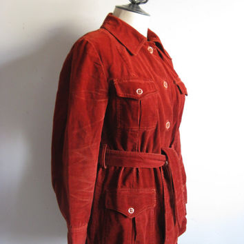 Vintage 1970s Corduroy Jacket Russet Grunge Cotton Distressed Beat Up 70s Light Coat Medium