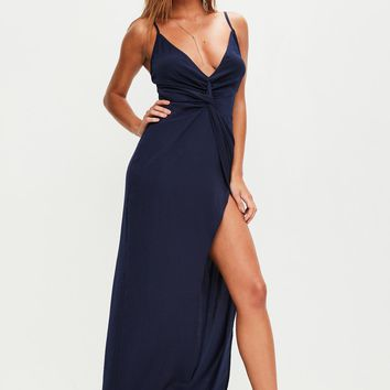 Missguided - Navy Strappy Plunge Maxi Dress