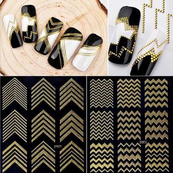 Gold Metal 3D Nail Stickers Stripes Wave Line DIY Nail Art Adhesive Manicure Transfer Sticker Water Slide Nail Tips Stickers